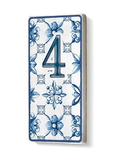 The Mia Kapı Numarası Mavi Beyaz 4 Mavi